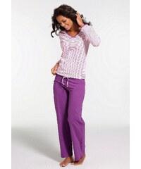 Große Größen: H.I.S Gestreifter Pyjama mit leicht ausgestelltem Hosenbein, rosa-lila, Gr.32/34-56/58