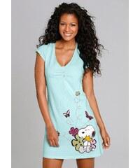 Große Größen: PEANUTS Sleepshirt mit Snoopyprint & Zierknöpfen, hellgrün, Gr.32/34-44/46