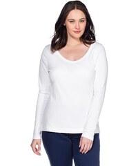 Große Größen: sheego Casual BASIC Langarmshirt aus reiner Baumwolle, weiß, Gr.40/42-56/58