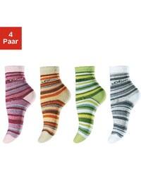 Große Größen: s.Oliver RED LABEL Bodywear Ringelsocken (4 Paar) Made in Germany, grün + rosa + hellorange + weiß, Gr.19-22-39-42