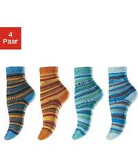 Große Größen: s.Oliver RED LABEL Bodywear Ringelsocken (4 Paar) Made in Germany, marine + orange + türkis + hellblau, Gr.19-22-39-42