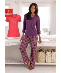 Große Größen: H.I.S Kariertes Pyjamaset (3 tlg.) mit Hose, T-Shirt & Langarmshirt, koralle-pflaume kariert, Gr.32/34-44/46