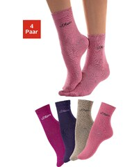 Große Größen: s.Oliver RED LABEL Bodywear Basic-Socken (4 Paar) Made in Germany, rosa + beige + pink + lila, Gr.27-30-39-42