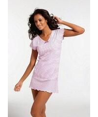 Große Größen: H.I.S Nachthemd in süßem Streifenlook mit Kräuselrändern, rosa gestreift, Gr.32/34-56/58