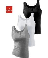 Große Größen: H.I.S Doppelripp-Achselhemd (3 Stück), grau meliert + schwarz + weiß, Gr.44/46-48/50