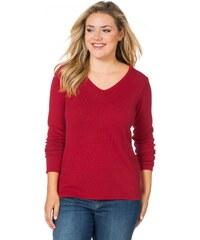 Große Größen: sheego Casual V-Pullover als unverzichtbares Basic, rot, Gr.44-56