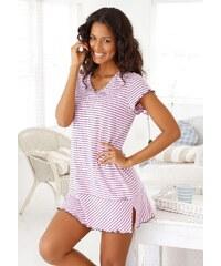 Große Größen: H.I.S Nachthemd in süßem Streifenlook mit Kräuselrändern, rosa geringelt, Gr.32/34-56/58
