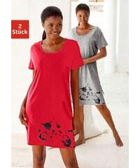 Große Größen: Nachthemd, Petite Fleur (2 Stck.), rot+grau, Gr.32-56/58