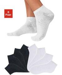 Große Größen: GO IN Füßlinge (8 Paar) in verschiedenen Unifarben, 4x schwarz + 4x weiß, Gr.35-38-43-46