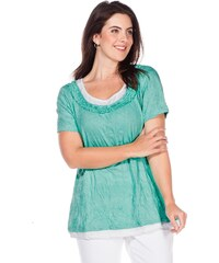 Große Größen: sheego Casual 2-in-1-Shirt im Crinkle-Look, mint, Gr.40/42-56/58
