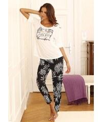 Große Größen: LASCANA Pyjama im modernen Schwarz-Weiß-Design, ecru/schwarz gemustert, Gr.32/34-44/46