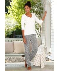 Große Größen: rebelle Pyjama im Pünktchendesign mit Perlmuttknöpfen, ecru/grau gepunktet, Gr.32/34-48/50