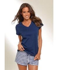 Große Größen: H.I.S Shorty mit Shorts im Vichykaro & Basic T-Shirt, marine kariert, Gr.32/34-44/46