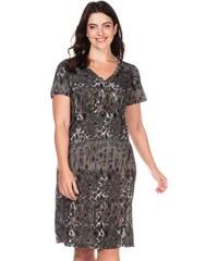 Große Größen: sheego Casual Kleid mit V-Ausschnitt, anthrazit-bunt, Gr.40-58
