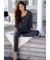 Große Größen: ARIZONA Basic-Pyjama in melierter Qualität mit Knopfleiste, anthrazit meliert, Gr.32/34-56/58