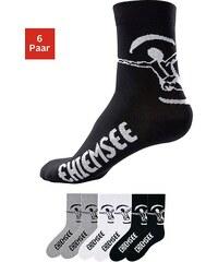 Große Größen: Chiemsee Formbeständige Sport- und Freizeitsocken (6 Paar), 2x weiß + 2x schwarz + 2x grau meliert, Gr.39-42-47-48