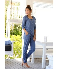 Große Größen: ARIZONA Basic-Pyjama in melierter Qualität mit Knopfleiste, jeans meliert, Gr.32/34-56/58