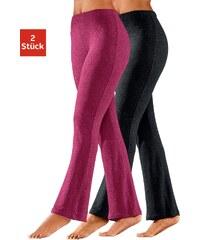 VIVANCE COLLECTION Große Größen: Vivance Homewearhosen (2 Stück) aus softer elastischer Qualität, schwarz + himbeere, Gr.32/34-56/58
