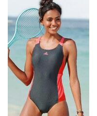 Große Größen: Badeanzug, adidas Performance, grau-rot, Gr.36-46