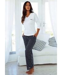 Große Größen: H.I.S Pyjama im Nadelstreifendesign mit schlichtem Shirt, weiß-marine, Gr.32/34-44/46
