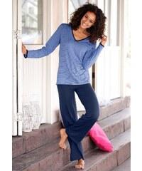 Große Größen: H.I.S Gestreifter Pyjama mit leicht ausgestelltem Hosenbein, blau-marine, Gr.32/34-56/58