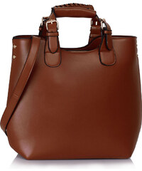 Tmavě-hnědá kabelka LS fashion LS00267 hnědá