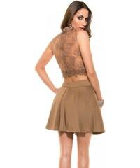Koucla Dámská skládaná krátká sukně DS18850H hnědá