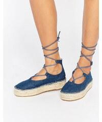 ASOS - JAZZ - Espadrilles en jean avec lacets - Bleu
