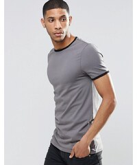 ASOS - T-shirt long et moulant avec col et bords de manches contrastants - Gris - Gris