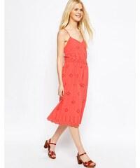 ASOS - Besticktes Midi-Sommerkleid mit Trägern - Rosa