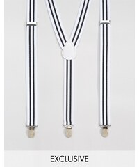 Reclaimed Vintage - Bretelles à rayures - Blanc - Blanc
