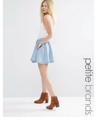 Vero Moda Petite - Jupe patineuse en jean - Bleu