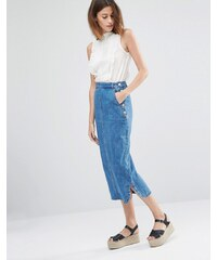 Warehouse - Jupe mi-longue en jean - Bleu