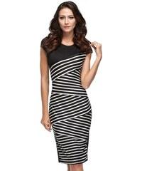 Atraktivní černobílé proužkované šaty