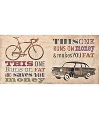 Deco Panel Skip Teller / Bikes vs. Car 100/50/2 cm HOME AFFAIRE natur