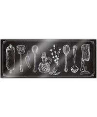 HOME AFFAIRE Acrylglasbild Rustic Kitchen - Panorama 100/40 cm grau