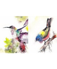 HOME AFFAIRE Bild Kunstdruck Cannotstop / Kolibri Ammer 2x 40/50/1,3 cm bunt