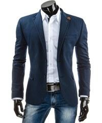 Modré pánské sako s nášivkami na loktech