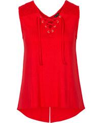 BODYFLIRT Top à laçage rouge sans manches femme - bonprix