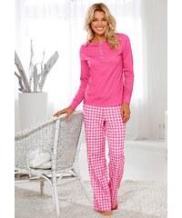 H.I.S Große Größen: Pyjama HIS, Langarmshirt mit Knopfleiste, weite Hose mit Karomuster, pink kariert, Gr.32/34-44/46