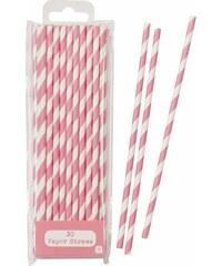 Talking Tables Papírové slámky Pink Stripe - set 30 ks