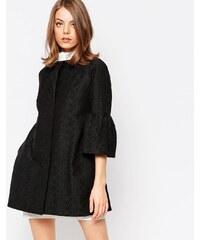 Helene Berman - Jacke aus schwarzem Damast mit ausgestellten Ärmeln - Schwarz