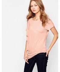 Vila - T-shirt drapé sur le côté - Rose