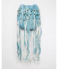 Cleobella - Freya - Party-Beuteltasche aus Leder mit auffälligen Quasten - Blau