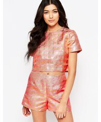 Lashes Of London - Glitz - T-shirt en jacquard métallisé - Rose