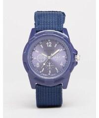 Reclaimed Vintage - Uhr im Militärstil mit blauem Canvas-Armband - Blau