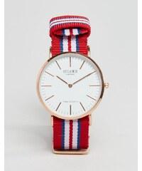 Reclaimed Vintage - Armbanduhr mit rot gestreiftem Band aus Leinen - Rot