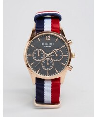 Reclaimed Vintage - Armbanduhr mit schwarzem Zifferblatt und Band aus bunt gestreiftem Leinen - Mehrfarbig