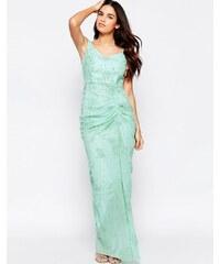 VLabel London VLabel - India - Robe longue à épaules dénudées avec devant froncé - Vert