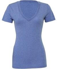 Dámské melírované tričko V-neck - Modrá žíhaná S